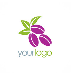 Plum fruit organic logo vector