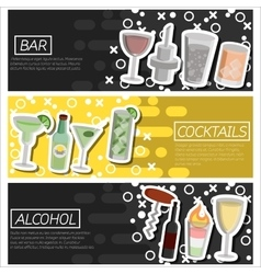 Set of horizontal banners about bar vector