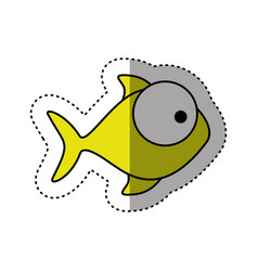 Sticker colorful silhouette fish aquatic animal vector
