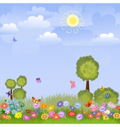 summer landscape with flowers vector image