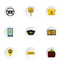 Taxi order icons set flat style vector image vector image