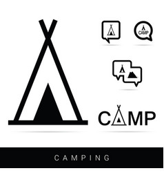 Tent camping icon set in black vector