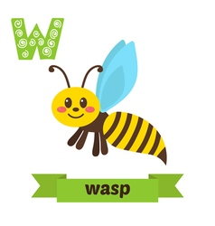 Wasp W letter Cute children animal alphabet in vector image vector image