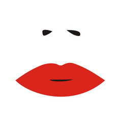 woman nose and red lips sexy woman face vector image vector image