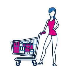 Woman with shopping cart paper bag gift vector