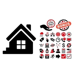 House porch flat icon with bonus vector