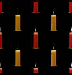 Yellow red wax burning candles seamless pattern vector