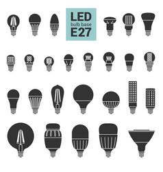Led light e27 bulbs silhouette icon set vector