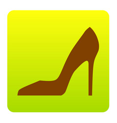 Woman shoe sign  brown icon at green vector