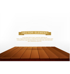 Wooden table isolated on white background element vector