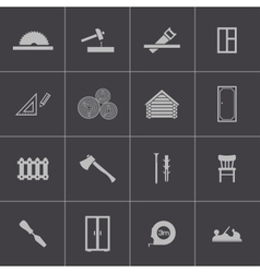 Black carpentry icons set vector