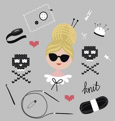 Fashionable knitting set vector
