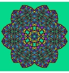 Unusual mandala art - chakra symbol ocer green vector