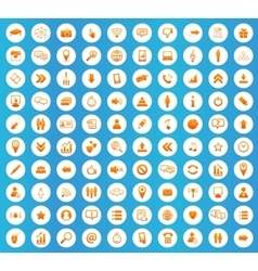 Social icons round set vector