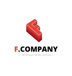 Isometric gradient f letter logo company vector