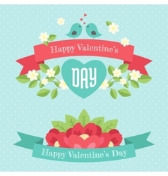 Happy valentines day greeting banners vector