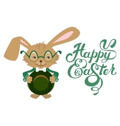 Easter bunny wearing glasses happy easter text vector