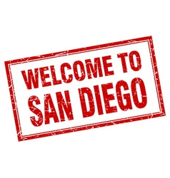 San diego red square grunge welcome isolated stamp vector