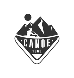 Canoe camp black and white emblem design vector