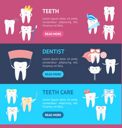 cartoon tooth characters banner horizontal set vector image vector image