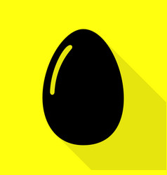 Chiken egg sign black icon with flat style shadow vector