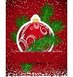 Christmas background Wticker ball and tree branch vector image vector image