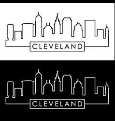 cleveland linear skyline line art editable file vector image vector image
