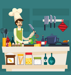 Colored cafe worker composition vector