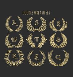doodle wreath set vector image