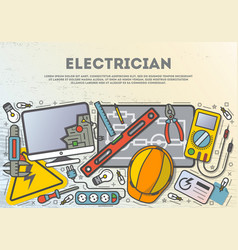 Electrician workplace top view banner vector