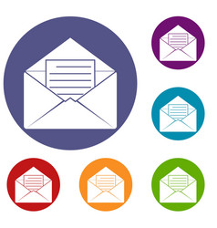 envelope with sheet of paper icons set vector image