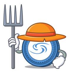 Farmer syscoin character cartoon style vector