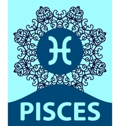 Hand-drawn zodiac Pisces with ethnic floral vector image