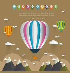 hot air balloon in the sky over moutain vector image vector image