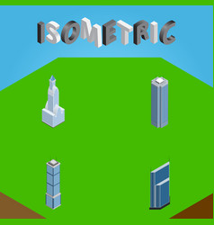 Isometric building set of residential skyscraper vector