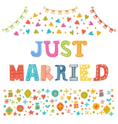 Just married cute greeting card vector