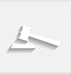 Justice hammer sign white icon with soft vector
