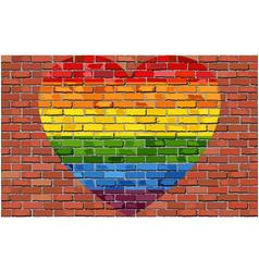 Lgbt heart on brick wall vector