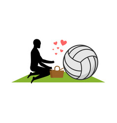 Lover volleyball guy and ball on picnic meal in vector