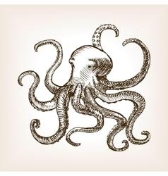 Octopus sea animal sketch vector