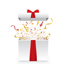 opened 3d realistic gift box with red bow and vector image