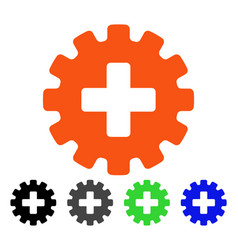 Plus gear flat icon vector