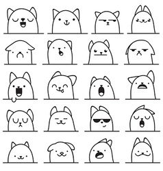 Set of 20 different emotions cat anime doodle vector