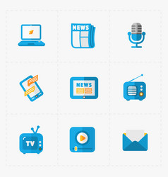Six colorful flat education icons set on white vector