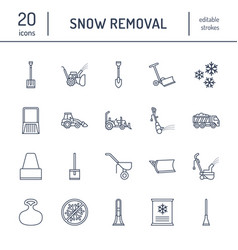snow removal flat line icons ice relocation vector image