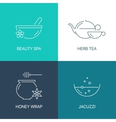 Spa thin line logo concept vector