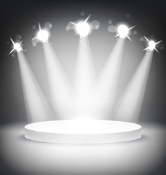 Studio with podium and spotlights grey show light vector image vector image