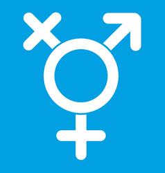 Transgender sign icon white vector