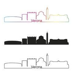 Verona skyline linear style with rainbow vector image vector image