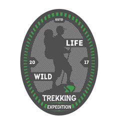 Wildlife trekking vintage isolated badge vector